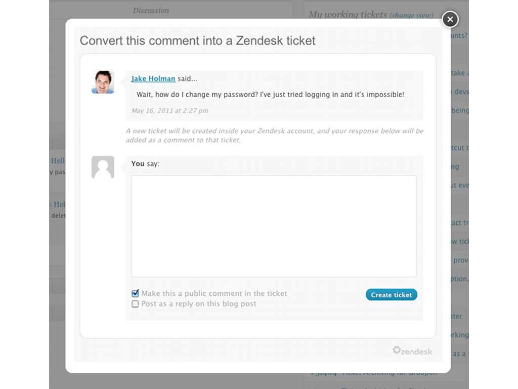 Zendesk WordPress App Screenshot