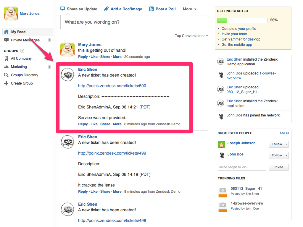 Zendesk Yammer App Screenshot