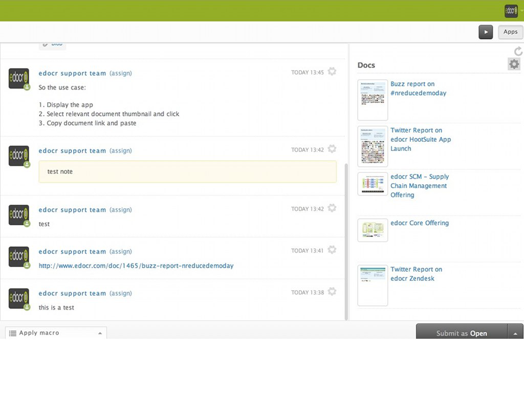 Zendesk edocr App Screenshot