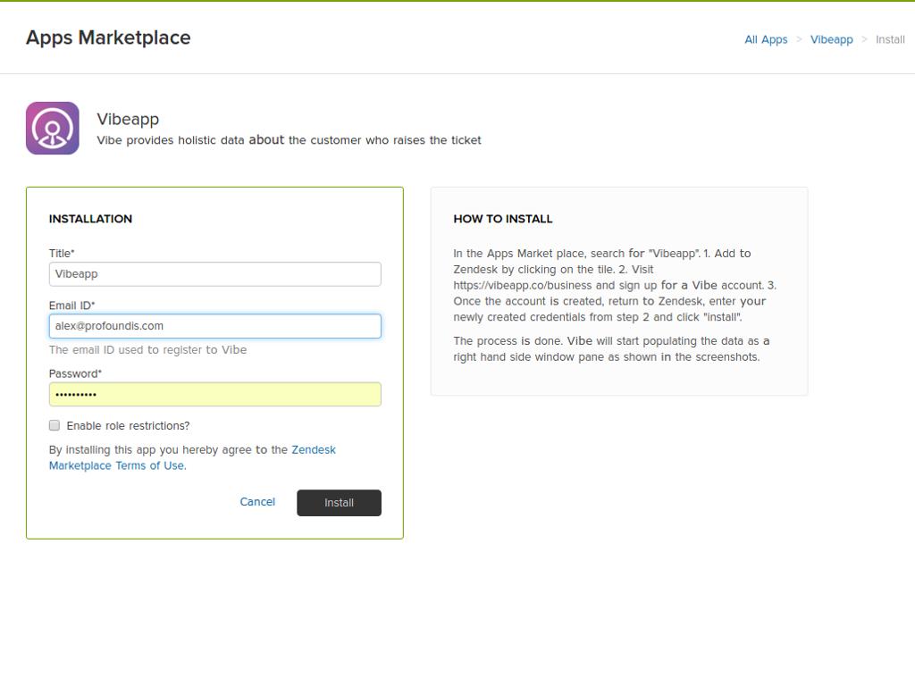 Vibe Screenshot ZenDesk